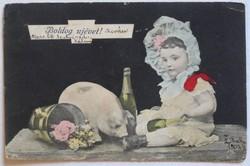 Újévi képeslap, fotómontázs, 1908
