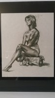 Női ülő akt, grafika, 58 x 46 cm