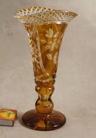 Antik 1900-as évek elejei sárga kristály váza 423