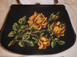 Gobelin - retikül  - NAGY - 32 x 23 x 7 cm + 12 cm fül - háta bőr - sárgaréz  szép állapo
