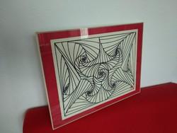 Absztrakt alkotás, fekete fehér vörös fali dekoráció, jelzett festmény rajz