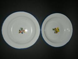 Bonyhádi zománcos gyerek tányérok - EP