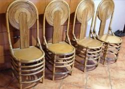 Ritkaság! Gyönyörűen készített, kb 60 éves, különleges bambusz székek (4db). Nagyon jó állapotban!
