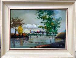 Molnár C Pál festmény: Átkelés az Comói -tónál