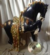 Hatalmas kínai kék ló szobor kerámia terrakotta nyereg főnix paripa harci mén