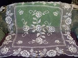 Gyönyörű régi necc csipke terítő, 140 x 128 cm KÉZIMUNKA