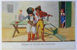 Népies képeslap 1940-ből: kocsmai jelenet cigányzenésszel; Gárdony és Fenyvesi (Bp.) kiadása