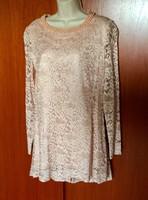 Gyönyörű szép fáradt rózsaszín csipke ruha, tunika Sellei Gabi szalonból 40-42 -es