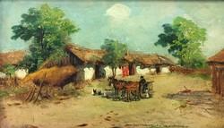 NÉMETH GYÖRGY : Falusi ház /tanya/ lovas szekérrel