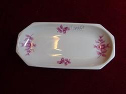 Hollóházi porcelán asztalközép, rózsaszín virágmintával, mérete 17,3 x 8,3 cm.