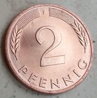 NSZK Német Verdefényes 2 Pfennig 1977 F.