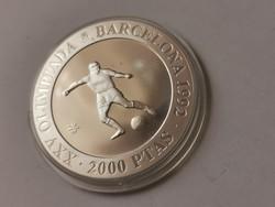 1990 spanyol ezüst 2000 peseta 27 gramm 0,925