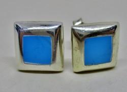 Szép  kézműves ezüst fülbevaló kék kövekkel