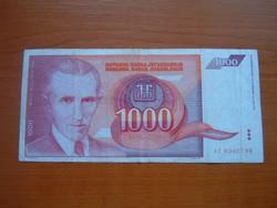 JUGOSZLÁVIA 1000 DINÁR 1992 AC NIKOLA TESLA #
