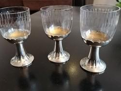 Ezüst-talpas kristályüveg likőrös poharak (jelzett) 1920