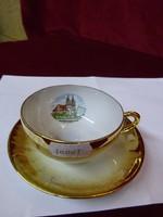 EIGL minőségi  antik porcelán Ausztria, kávéscsésze + alátét. Maria Dreieichen felirattal.