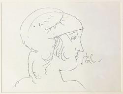 Szász Endre (1926-2003): Fiatal lány, tusrajz