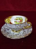 EIGL antik minőségi kávéscsésze + alátét, Peuerbach Ob. Oe. felirattal és látképpel.