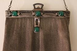 Ezüst színházi táska,achát kővel.