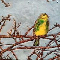 Tűzzománc festmény csíz madárkával