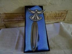 Fém Könyvjelző- angyal gyönggyel