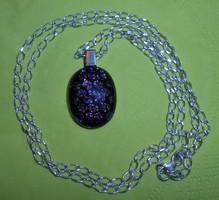 Ezüstlánc fekete-lila kristály függővel 925-ös