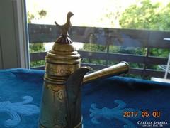 """Antik Beduin Dallah cizellált virágmintás kávéskanna madárkával """"bot""""fogóval"""
