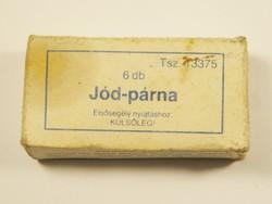 Retro Jód párna - doboz és ampulla - Biogal Gyógyszergyár Debrecen gyártó - 1990-es évekből