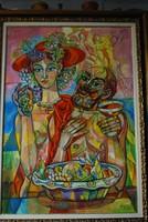 Józsa János festőművész Bacchus és kedvese olaj