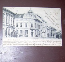 Miskolc antik képeslap 1905. Krausz Lajos, Bumsch Béla üzlete stb.
