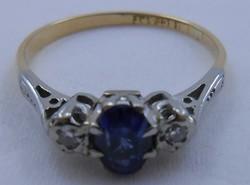 Antik arany-platina gyűrű gyémánt és zafír arany gyűrű