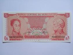 Unc papírpénz, Venezuela 5 Bolivares 1989 !!