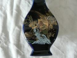 Arany díszítésű madaras kicsi váza