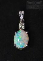 18 karátos fehér arany medál gyémánttal és természetes Ausztrál kristály opál kővel - specialistától