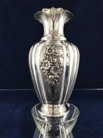 Gyönyörű ezüst váza növényi ornamentikával 1950-es évek