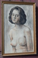 Női akt , félakt 1930 pasztell technika
