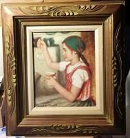 Buborék készítő lányka - mesés olajfestmény, mesés keretben