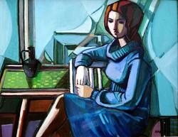 """Arató István  (1922 - 2010 ) """" Kékruhás lány...!!"""