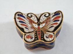 Nagyon szép, pillangós rekeszzománc díszes kis réz doboz