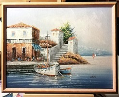 Adriai kikötő - Gyönyörű olajfestmény ( 46 x 36 )
