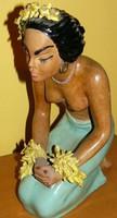 Szignózott mid-century/vintage kerámia, tahiti nő