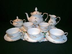 Nagyon ritka, szép aranyozott festésű német Roschütz porcelán teás készlet