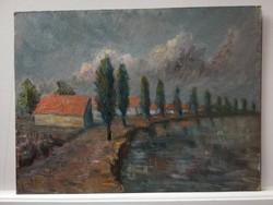 Drescher G.:  Tópart vihar előtt,  olaj karton keret nélkül 1960.körül   30x40 cm.