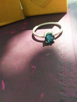 Kék topáz ezüst gyűrű új 57-es méret 8-as