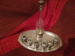 Eladó antik ezüst tálcán 6 személyes ezüsttel kombinált kristály üveg likőrös készlet