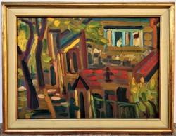 Németh Miklós (1934 - 2012) Kertben c festménye 1978 - ból 76x59cm EREDETI GARANCIÁVAL !!