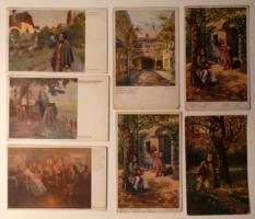 7 db üdvözlőlap, 1910-es évek: Franz Schubert zeneszerző, Wiener Kunst, Wiener Künstler Grüsse
