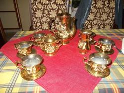 Aranyozott teás szett vázával