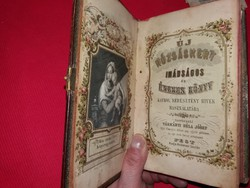 19 sz. ÚJ RÓZSAKERT csatos bőrkötéses imakönyv rengeteg korabeli papítrgyüjteménnyel és relikviával