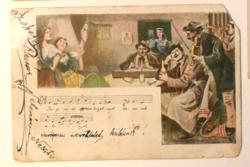 Üdvözlőlap, 1905 előtt: kocsmai jelenet cigányzenészekkel, magyar nótarészlettel